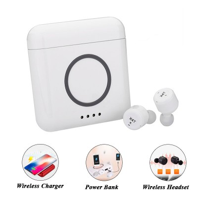 X4T TWS Wireless Earphone with Wireless Charger and Power Bank - White