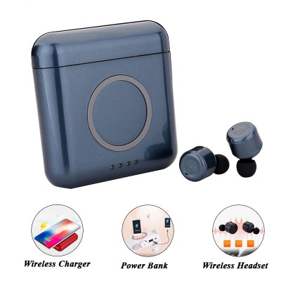 X4T TWS Wireless Earphone with Wireless Charger and Power Bank - Blue