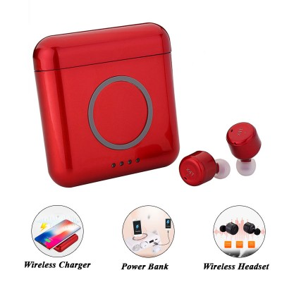 X4T TWS Wireless Earphone with Wireless Charger and Power Bank - Red