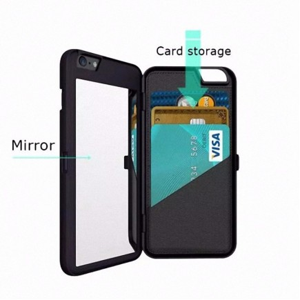 iFrogz Multi-Function Luxury Charisma Mirror Wallet Handbag Case for iPhone 6 Plus /6S Plus - Black