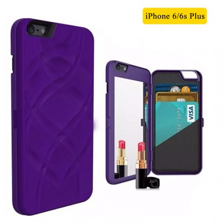 iFrogz Multi-Function Luxury Charisma Mirror Wallet Handbag Case for iPhone 6 Plus /6S Plus - Purple