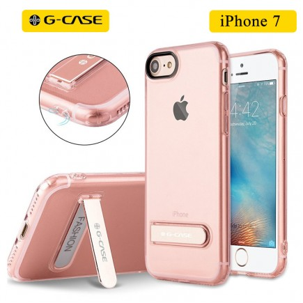 G-CASE TPU Back Case with Metal Holder For iPhone 7 - Trasparent Pink