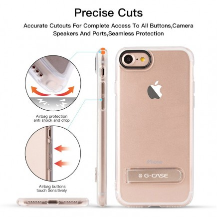 G-CASE TPU Back Case with Metal Holder For iPhone 7 - Trasparent Gold
