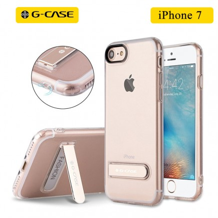 G-CASE TPU Back Case with Metal Holder For iPhone 7 - Trasparent Clear