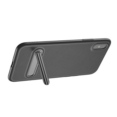 Baseus Kickstand Leather Case For iPhone X - Black