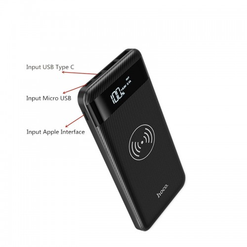 HOCO J11 10000mAh Wireless Power Bank For iPhone X , iPhone 8 , Note 8 , S9 , Note 5 - White