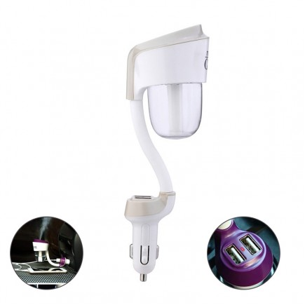 NANUM 2 Car humidifier with 2 USB Car Charger - White