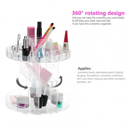 New Professional 360 Degree Rotating Cosmatic Transparent Makeup Organizer Box