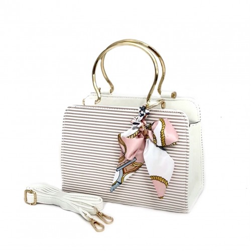 Elegant Design Ladies Bag - White/Brown