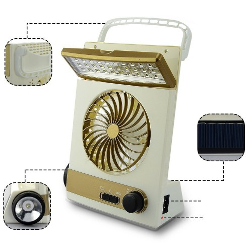 4 in 1 Portable Mini Solar Light Fan with 30 LED Light Flashlight Rechargeable Lamp