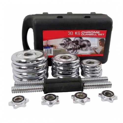 Chrome Dumbbell Set with Case - 15 kg Pa...