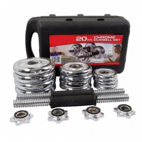 Chrome Dumbbell Set with Case - 10 kg Pa...