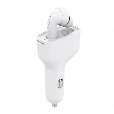 DACOM TWS Bluetooth Earphone With Car Charger - White